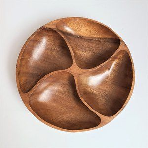 Wooden Rounded Divided Serving Plate.